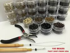 Feather Hair Extension TOOL KIT 100 SILICONE MICRO BEADS PLIERS HOOK LOOP USA
