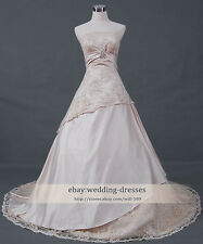 Cathedral champagne wedding dress  A-line Strapless Lace court train bridal Gown