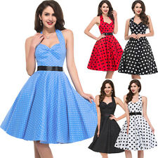 Vintage 50s 60s Swing Jive Party Evening Pinup Cotton Rockabilly Carnival Dress