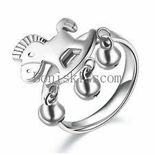 Carrousel Horse w Bell Stainless Steel Ring Ladies Womens Size 6-9 Selectable