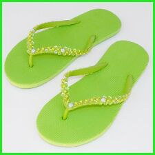 THONGS Sandal Flip-Flops*Size:5,6,7,8* GREEN Womens Girl Rubber Decorated SEQUIN