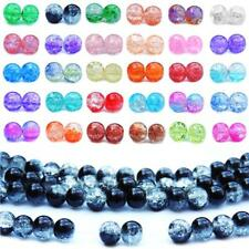 Glass Crackle Beads ( 200 - 6mm ) (100 - 8mm ) ( 50 - 10mm ) ROUND BEAD CRACKLE