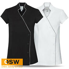 WOMENS MODERN STAIN RELEASE CROSS OVER TUNIC - SPA/SALON/BEAUTY - BLACK/WHITE