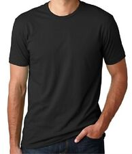 New Mens Crew Neck T-Shirt 100% Cotton Plain Tee Black XS-3XL