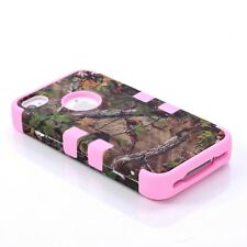 Hybrid Camouflage Camo Tree Print Dirtproof Hard Case For iPhone 4 4G 4S pink A3