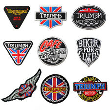 EMBROIDERED IRON ON PATCH MOTORCYCLES BIKER CAFE TRIUMPH UNION FLAG ARM PATCHES