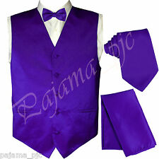 PURPLE Solid Vest Waistcoat, Tie And Bow Tie & Hanky Suit or Tuxedo Formal