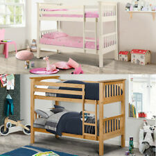 Happy Beds Barcelona Pine / White Bunk Bed Two Sleeper 2x Mattress Furniture New