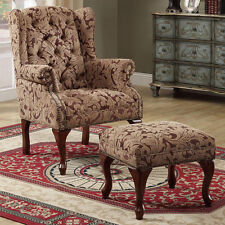 NEW 2 PC Cozy Fabric Button Tufted Seat Wing Back Arms Accent Chair Ottoman Set