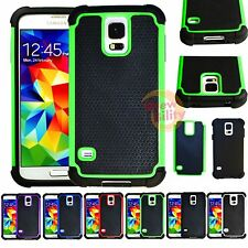 Samsung Galaxy S5 Armor 2-in-1 Heavy Duty Rugged Rubber Matte Hard Case Cover