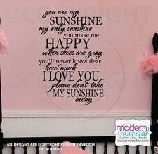 You Are My Sunshine Quote Vinyl Wall Decal Lettering Inspirational Nursery Baby