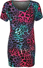 New Womens Plus Size Animal Leopard Print Short Sleeve Ladies Long T-Shirt Top