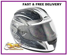Stealth HD118 Slayer Silver Motorcycle Helmet Full Face ECE