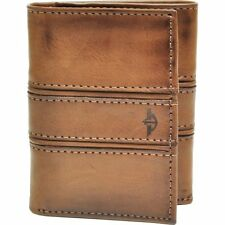 Dockers Men's Brown Trifold Coated Leather Embossed Logo Handcrafted Wallet New