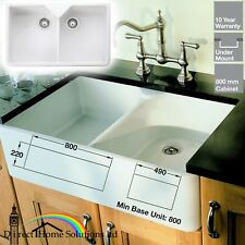 Rangemaster Double Bowl Belfast Ceramic Kitchen Sink & Waste Kit - 24h DELIVERY