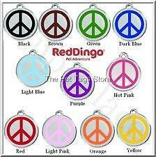 Red Dingo PEACE SIGN Engraved Dog ID Pet Tag / Charm - Lifetime Guarantee