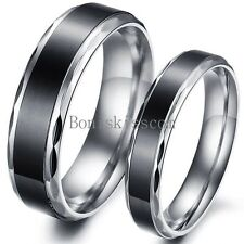 Stainless Steel Black Vintage Couples Engagement Ring Anniversary Wedding Band