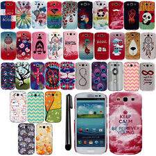 For Samsung Galaxy S3 i9300 T999 Image PATTERN HARD Case Back Phone Cover + Pen