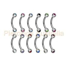 316L Surgical Steel Gem Ball Eyebrow Bar Ring Barbell Body Piercing Jewellery