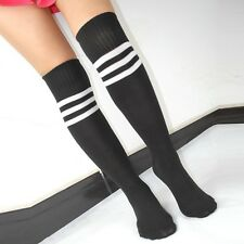 Fashion Crew Socks Youth Men Ladies Soccer Football Knee High Stripe Tube Socks