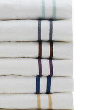 1800 Series Hotel Style Bed Sheet Set Contrast Stripe Pillow Case All Sizes