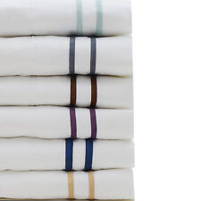 1800 Series Luxury Hotel Style Contrast Stripe Embroidery Bed Sheet Set 6 Colors