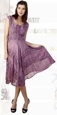 Womens Dresses Sleeveless Embroidery Bohemian Pretty Summer Dress Lace Up New