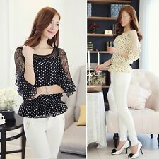 Ladies Women's Lace Shirts Chiffon Blouse Polka Dot Shirts Blouses Top