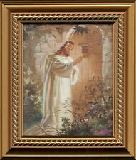 Sallman Christian Art Christ At Door Print Framed w/ Easel for Standing 45-1012