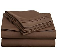 LUXURIOUS 2 LINE EMBROIDERED 4 PC BED SHEET SET, KING QUEEN TWIN FULL, BROWN