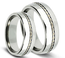 2P8TM266 2pcs Grooved w/ Braided Sterling Silver Inlay Titanium ComfortFit Bands