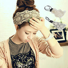 Hot Womens Romantic Retro Fabric Lace Wide Stretch Hair Band Headband Headwrap