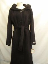Calvin Klein Premium Belted Long Angora Wool Coat with Hood  Black  NWT