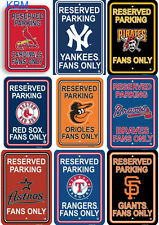 "MLB Baseball PARKING FAN ZONE Wall Signs 18"" x 12"" - Pick Your  FavoriteTeam"