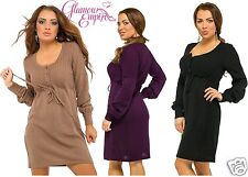 Long Sleeve Knitted Buttoned Dress Tied Beneath Bust Tunic 6-12 24h Disp 350
