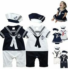 Baby Boy Girl Sailor Carnival Fancy Party Costume Outfit Dress Clothes+HAT Set