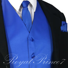 ROYAL Blue XS - 6XL Solid Vest Waistcoat and Neck Tie SET Suit or Tuxedo Formal