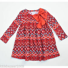 Bonnie Jean Girls Red Geo Long Sleeve Dress Size 3-6M/6-9M/18M/24M/4/5/6