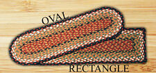 Oval Stair Tread Braided Rug 100% Jute ~ Black, Brown, Red, Mustard, Tan, Multi