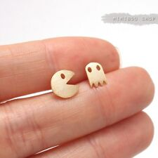 Hand Touched Textured Matt Cute Tiny Mini Pacman Stud Earrings Silver Post Back