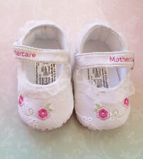 NEW Baby Girls Flower Mary Janes with Frills Shoes White 0-12 mos Size 2/3/4