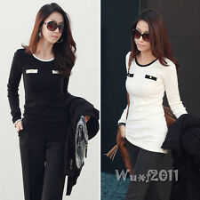 Fashion Women's Cotton Fitted Stretch Casual Tops T-Shirt Tee Blouse White Black
