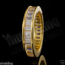 18K Yellow Gold Baguette Cut CZ Womens Eternity Wedding Unisex Band Promise Ring