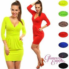 Glamour Empire Womens Summer Colours Tunic with Pockets Sleeve Mini Dress 236