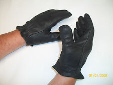 BLACK DEERSKIN LEATHER TACTICAL SHORT CUFF GLOVES - MADE IN THE USA
