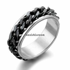 Spinner Men's Stainless Steel Wedding Ring w BLACK / SILVER Curb Chain Center