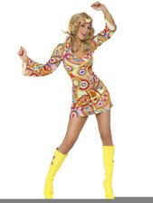 60s 70s Hippy Chick Lady Costume Psychedelic Hippie Fancy Dress Outfit UK 8 - 18