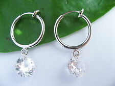 925 Stamped Sterling Silver 8mm Clear Drop Clip-on Earrings Gifts