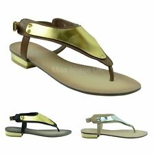 LADIES WOMENS FLAT LOW HEEL TOE POST THONG FLIPFLOP SLINGBACK SANDALS SHOES SIZE