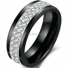 Double Row Rolling Cubic Zirconia 8mm Black Ceramic Promise Ring Wedding Band